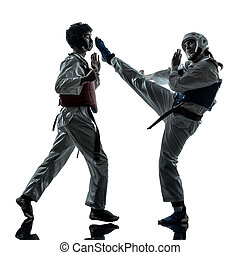 karate taekwondo martial arts man woman couple silhouette -...