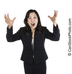 Upset Mature Asian Woman - Highly upset mature Asian woman...