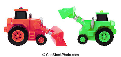 Toy Earthmovers on White Background
