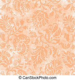 Vintage Light Peach Floral Tapestry - Worn light peach...