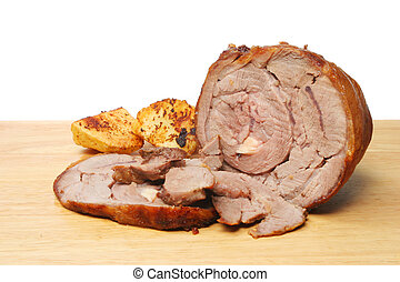 Carved roast lamb
