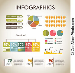 infographics over beige backgrond, vintage style. vector