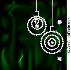 jewelry Christmas balls - on a dark green silk are two...