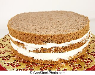 Cream layer cake - Closeup of a chocolate cream layer cake