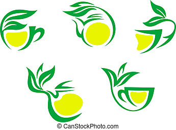 Tea cups symbols with lemon and green leaves for beverages...