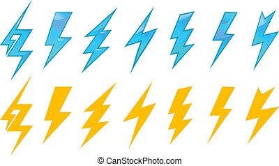 Lightning icons and symbols set isolated on white background