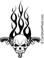 Human skull with gun and flames for tattoo design