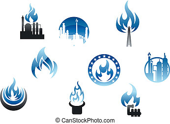 Gas industry symbols and icons with blue flames