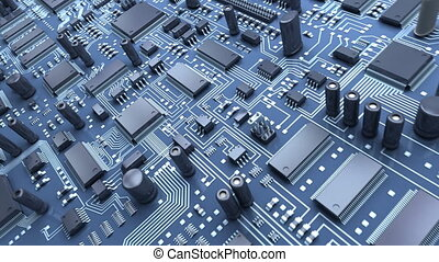 Abstract circuit board High Technology 3d animation