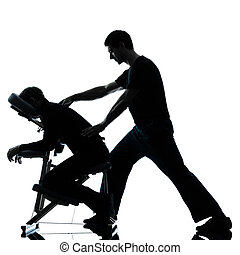 back massage therapy with chair - two men performing chair...