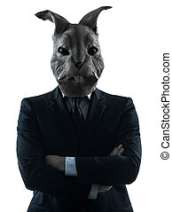 man with rabbit mask silhouette portrait - one causasian man...