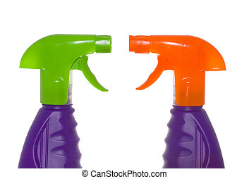 Sprayers - two plastic sprayers isolated on the white...