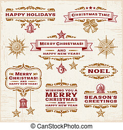 Vintage Christmas Labels - A set of vintage Christmas...