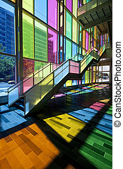 Colorful windows, Montreal - colorful stairway and windows...