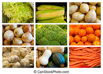 assorted vegetables - collage