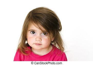 Sad little girl - Portrait of sad little girl on a white...