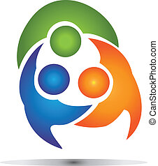Teamwork group business logo - People in a big hug...