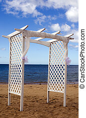 Wedding canopy on the beach - Empty wedding canopy on the...