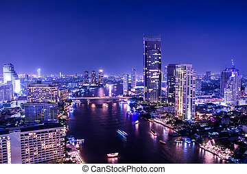aerial view of chaopraya river in bangkok at twilight night