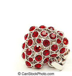 Ruby heart made from gemstones and platinum