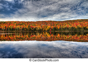 Autumn reflection - peak autumn colors in la mauricie...
