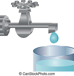 and tap water - drawing water from a faucet dripping