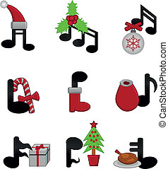 Christmas music - music notes with Christmas elements