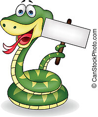Snake with blank sign - Vector illustration of snake with...