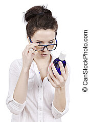 reading description - young student checking indegrient of...
