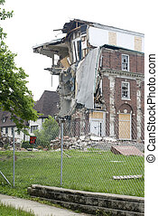Keep Out - An old brick dormitory is being demolished