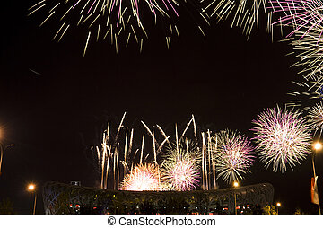 Bird\\\'s Nest - Beautiful firework in The National Olympic...