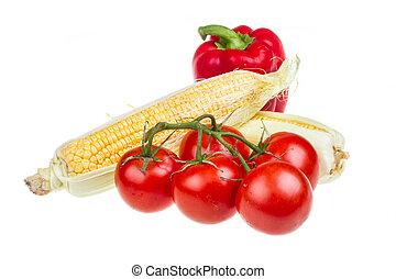 pepper, ripe yellow corn and tomato