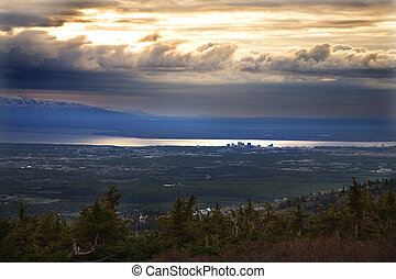 Anchorage Alaska at Sunset from Flattop Mountain - Anchorage...