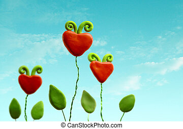 Three heart flowers - Family of three heart flowers on a...