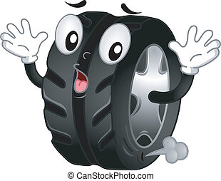 Flat Tire Mascot - Mascot Illustration of a Shocked Flat...