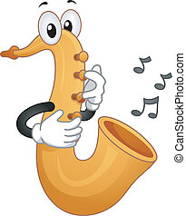 Saxophone Mascot - Mascot Illustration Featuring Musical...
