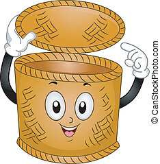 Basket Mascot - Mascot Illustration of a Basket Bin Pointing...