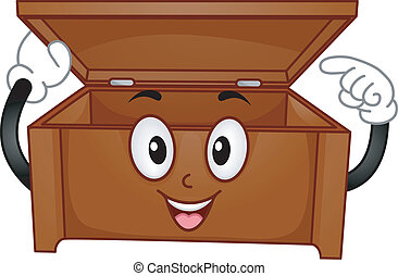 Wooden Chest Mascot - Mascot Illustration of a Wooden Chest...