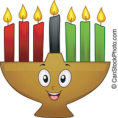 Kinara Mascot - Mascot Illustration of a Kinara with Lit...