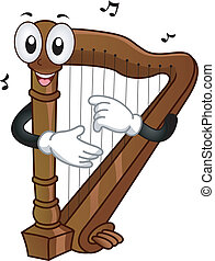 Harp Mascot - Mascot Illustration of a Harp Plucking its...