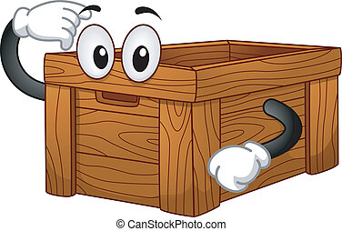 Wooden Box Mascot - Mascot Illustration of a Wooden Box...