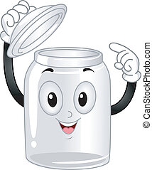 Glass Canister Mascot - Mascot Illustration of an Empty...