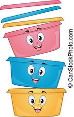 Food Container Mascots - Mascot Illustration of a Stack of...