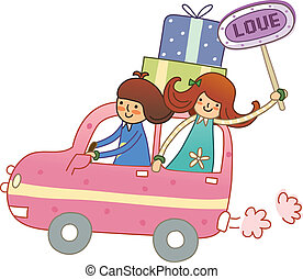 Boy and Girl travelling in car - Boy and Girl travelling in...