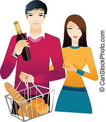 Young couple with champagne bottle and bun