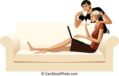 Young couple with coffee and laptop