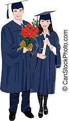 young woman and a young man wearing graduation outfits