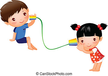 Boy and Girl playing with tin can telephone