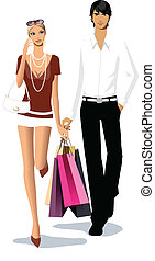 Couple with shopping bags  - Couple with shopping bags