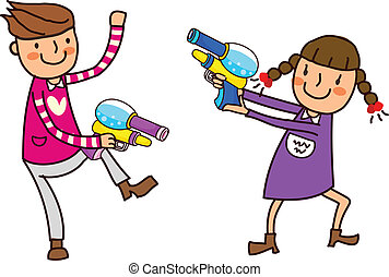 Portrait of Boy and Girl holding water gun